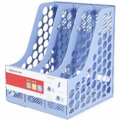 齐心(Comix) B2173 三联文件栏桌面文件框A4资料塑料整理架蓝色
