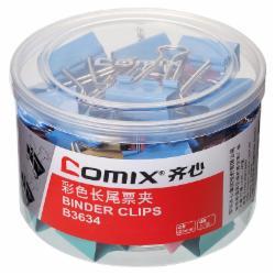 齐心(Comix) B3634长尾票夹 4# 25mm 48只/筒