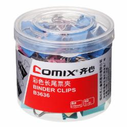 齐心(Comix) B3636长尾票夹 6# 15mm 60只/筒