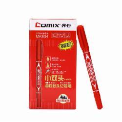 齐心(Comix) MK804 小双头油性记号笔 12支/盒(黑色)