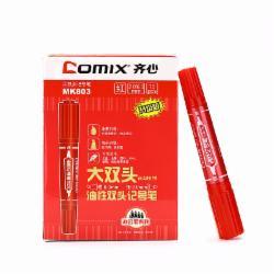 齐心(Comix) MK803 大双头油性记号笔 10支/盒(黑色)