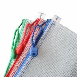 齐心(Comix) A1154 A4网格拉链袋 颜色随机