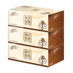 清风(APP)抽纸 原木纯品 2层200抽盒装*3盒纸巾