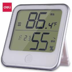 得力(deli)LCD屏显闹钟温湿度计 台挂两用带探头 白色8959