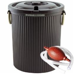 带盖茶渣桶 加厚塑料茶水桶 茶叶垃圾桶 废水桶 滤茶桶 储茶桶 废茶桶 咖啡色 小号 C6596