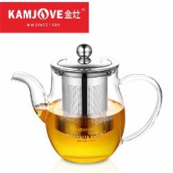 金灶(KAMJOVE) 玻璃泡茶壶 耐高温304不锈钢过滤花茶壶飘逸杯煮茶壶简约式茶艺壶 A-06/500毫升
