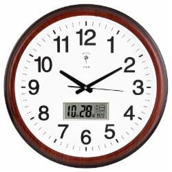 北极星 挂钟客厅静音时尚简约挂钟日历显示LED 2901石英钟 简约款 红木色